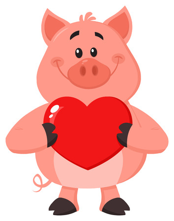 Cute Pig Cartoon Character Holding A Valentine Love Heart. Vector Illustration Flat Design Isolated On White Background Фото со стока