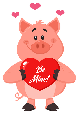 Cute Pig Cartoon Character Holding A Be Mine Valentine Love Heart. Vector Illustration Flat Design Isolated On White Background