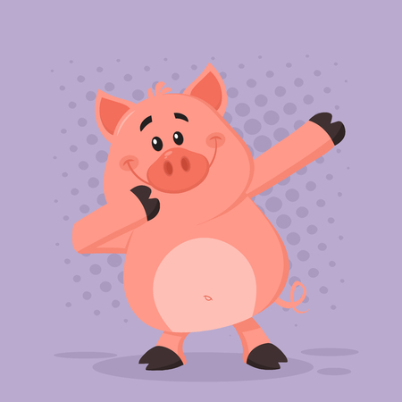 Dabbing Pig Cartoon Character. Vector Illustration Flat Design With Violet Background Фото со стока