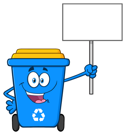Blue Recycle Bin Cartoon Mascot Character Holding Up A Recycle Sign. Vector Illustration Isolated On White Background