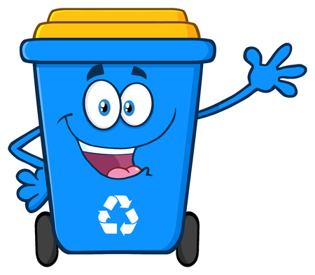 Happy Blue Recycle Bin Cartoon Mascot Character Waving For Greeting . Vector Illustration Isolated On White Background