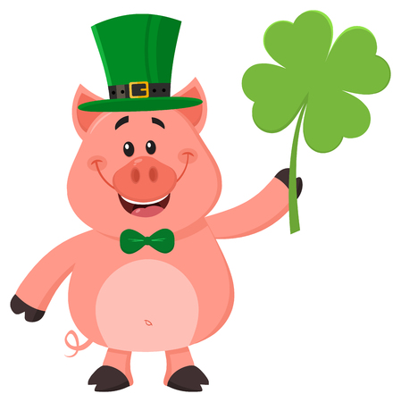 Happy Leprechaun Pig Cartoon Character Holding Leaf Clover. Vector Illustration Flat Design Isolated On White Background
