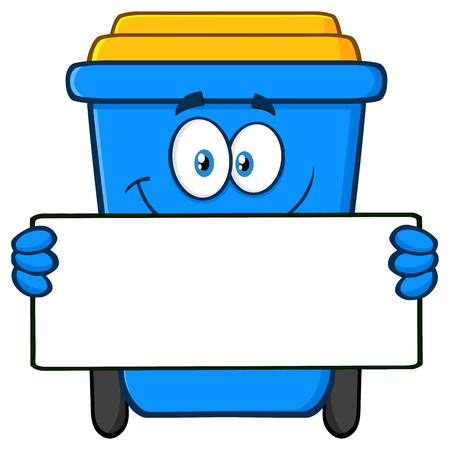 Smiling Blue Recycle Bin Cartoon Mascot Character Holding Blank Sign. Vector Illustration Isolated On White Background Фото со стока