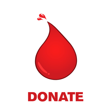 Red Blood Drop Symbol And Text Donate. Vector Illustration Isolated On Transparent Background Фото со стока