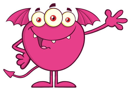 Happy Pink Monster Cartoon Mascot Character Waving For Greeting. Vector Illustration Isolated On Transparent Background