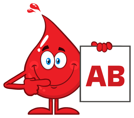 Red Blood Drop Cartoon Character Show A Board With Blood Type AB. Vector Illustration Isolated On Transparent Background