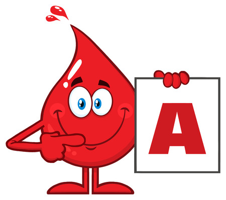 Red Blood Drop Cartoon Character Show A Board With Blood Type A. Vector Illustration Isolated On Transparent Background