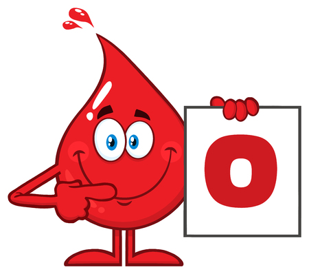 Red Blood Drop Cartoon Character Show A Board With Blood Type O. Vector Illustration Isolated On Transparent Background