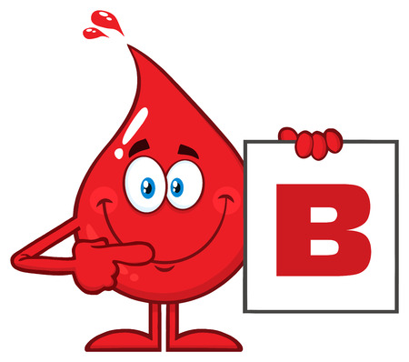 Red Blood Drop Cartoon Character Show A Board With Blood Type B. Vector Illustration Isolated On Transparent Background