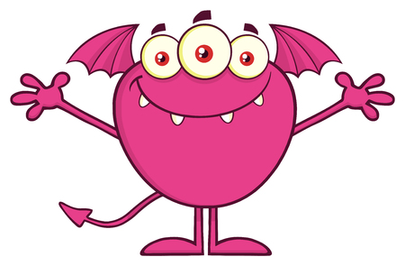 Smiling Pink Monster Cartoon Mascot Character With Open Arms. Vector Illustration Isolated On Transparent Background Фото со стока