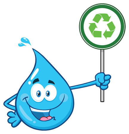 Blue Water Drop Cartoon Character Holding A Recycling Sign. Vector Illustration Isolated On Transparent Background