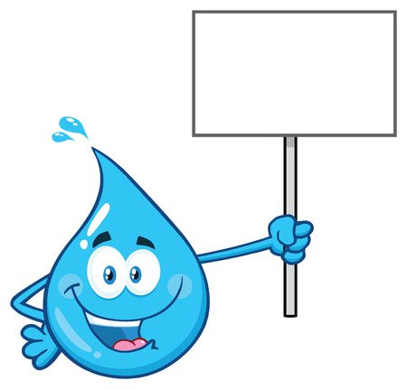 Blue Water Drop Cartoon Character Holding Up A Blank Sign. Vector Illustration Isolated On Transparent Background Фото со стока