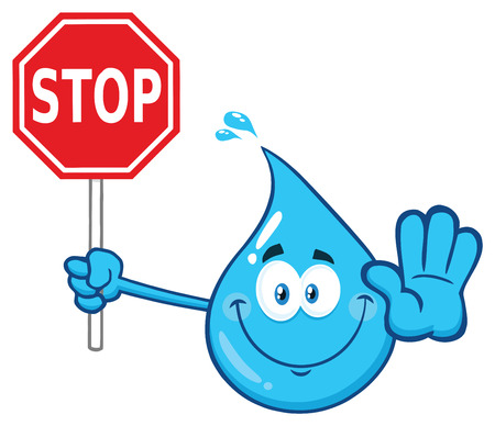 Blue Water Drop Cartoon Character Holding A Stop Sign. Vector Illustration Isolated On Transparent Background