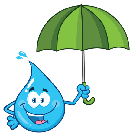 Blue Water Drop Cartoon Character Holding An Umbrella. Vector Illustration Isolated On Transparent Background