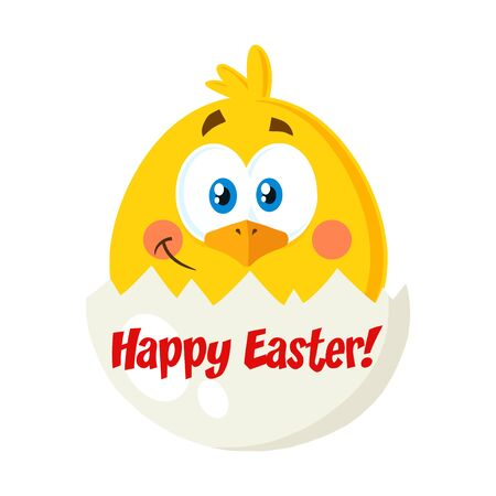 Smiling Yellow Chick Cartoon Character Out Of An Egg Shell. Vector Illustration Flat Isolated On Transparent Background With Text Фото со стока
