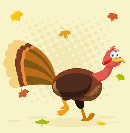 Thanksgiving Turkey Bird Cartoon Character Running. Vector Illustration  With Background