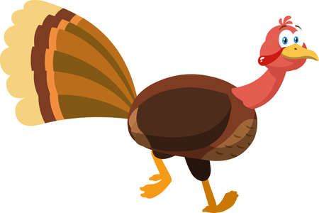 Thanksgiving Turkey Bird Cartoon Character Running. Vector Illustration Isolated On White Background Иллюстрация