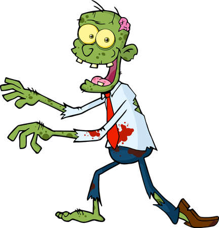 Funny Zombie Cartoon Character Walking. Vector Illustration Isolated On White Background