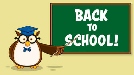 Owl Teacher Cartoon Character With Graduate Cap In Front Of School Chalk Board. Vector Illustration With Background