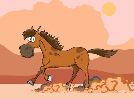 Brown Horse Cartoon Character Running. Vector Illustration With Background