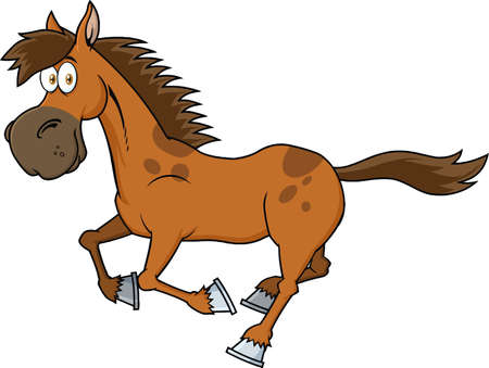 Brown Horse Cartoon Character Running. Vector Illustration Isolated On White Background