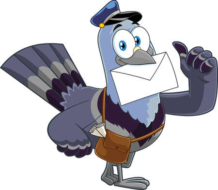 Pigeon Bird Cartoon Character Delivering Letter And Giving Thumbs Up. Vector Illustration Isolated On White Background 向量圖像