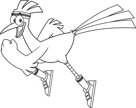 Black And White Roadrunner Bird Cartoon Character Jogging. Vector Illustration Isolated On White Background