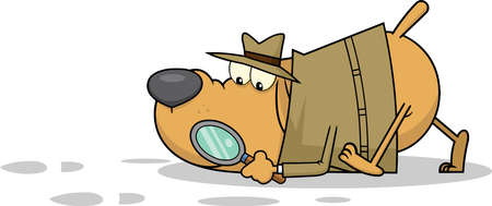 Detective Dog Cartoon Character Following A Clues. Vector Illustration Isolated On White Background