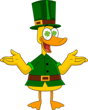 Lucky Duck Leprechaun Cartoon Character With Open Arms. Vector Illustration Isolated On White Background