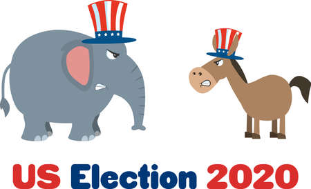 Political Elephant Republican Vs Donkey Democrat. Vector Illustration Flat Design Style Isolated On White Background With Text