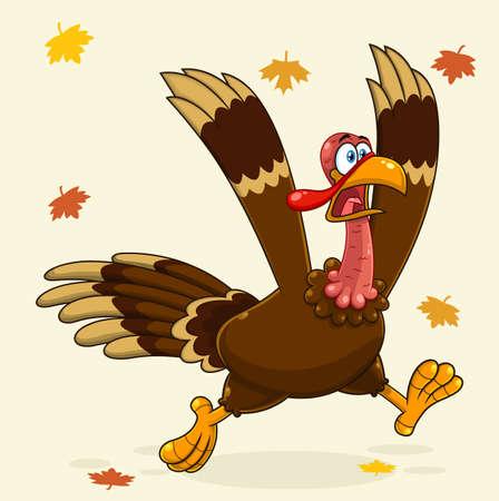 Crazy Turkey Cartoon Character Running. Vector Illustration Greeting Card