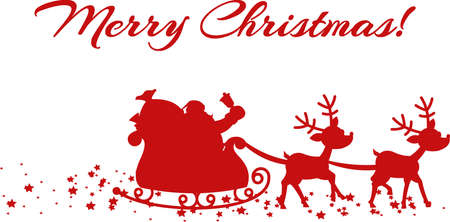 Red Silhouette Of Santa And A Reindeers Flying In A Sleigh. Vector Illustration Isolated On Transparent Background