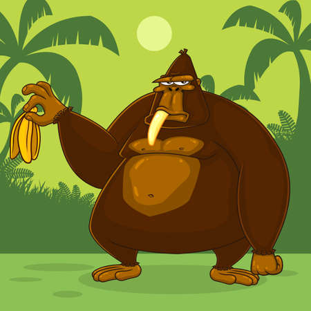 Brown Gorilla Cartoon Character Is Holding A Banana. Vector Illustration With Jungle Background