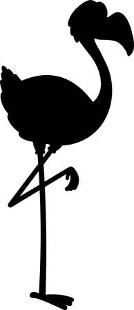 Flamingo Bird Silhouette Cartoon Character. Vector Illustration Flat Design Style Isolated On White Background 矢量图像