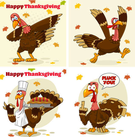Turkey Bird Cartoon Mascot Character Set 6. Vector Collection Isolated On White Background
