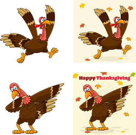 Turkey Bird Cartoon Mascot Character Set 1. Vector Collection Isolated On White Background 向量圖像