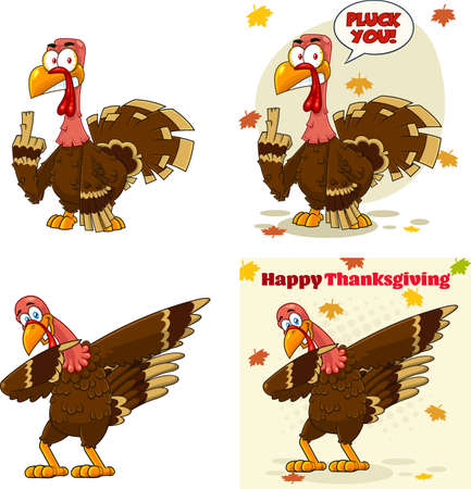Turkey Bird Cartoon Mascot Character Set 3. Vector Collection Isolated On White Background
