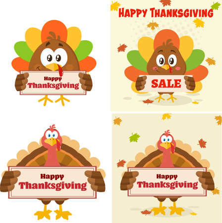 Turkey Bird Cartoon Mascot Character Flat Design. Vector Collection Isolated On White Background