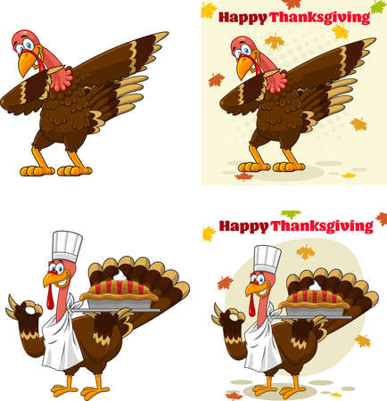 Turkey Bird Cartoon Mascot Character Set 4. Vector Collection Isolated On White Background