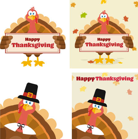 Turkey Bird Cartoon Character Flat Design Set 3. Vector Collection Isolated On White Background