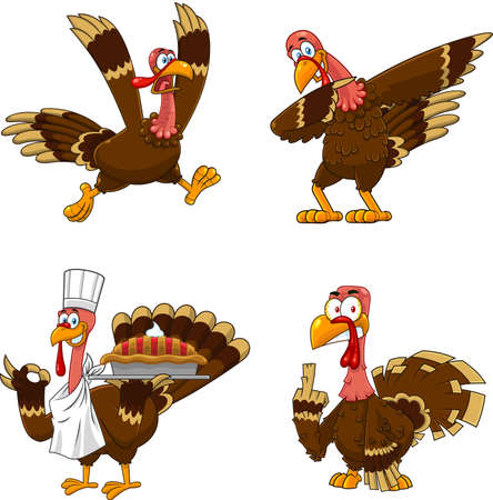 Turkey Bird Cartoon Mascot Character Set 5. Vector Collection Isolated On White Background