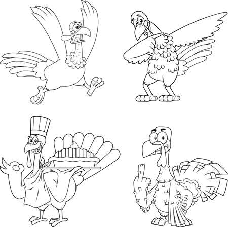 Outlined Turkey Bird Cartoon Mascot Character Set. Vector Collection Isolated On White Background