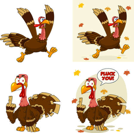 Turkey Bird Cartoon Mascot Character Set 2. Vector Collection Isolated On White Background 向量圖像
