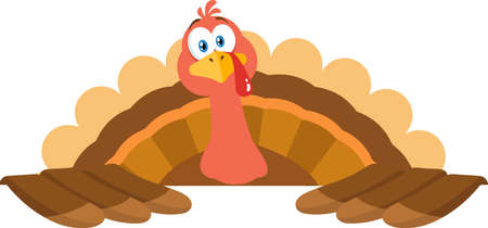 Thanksgiving Turkey Bird Cartoon Mascot Character Over Sign. Vector Illustration Flat Design Isolated On White Background Ilustração
