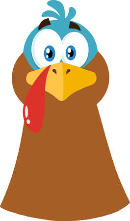 Thanksgiving Turkey Head Cartoon Character. Vector Illustration Flat Design Isolated On White Background
