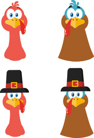 Turkey Face Cartoon Character Flat Design. Vector Collection Isolated On White Background