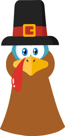 Pilgrim Turkey Head Cartoon Character. Vector Illustration Flat Design Isolated On White Background