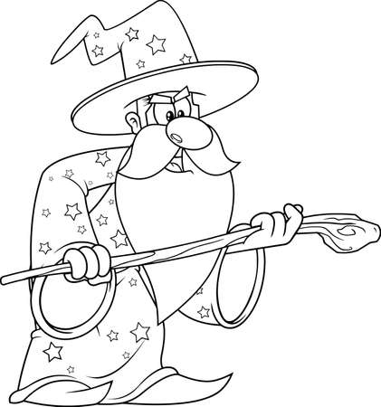 Outlined Old Wizard Cartoon Character With A Cane Making Magic. Vector Illustration Isolated On White Background