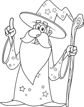 Outlined Old Wizard Cartoon Character With A Cane Pointing. Vector Illustration Isolated On White Background
