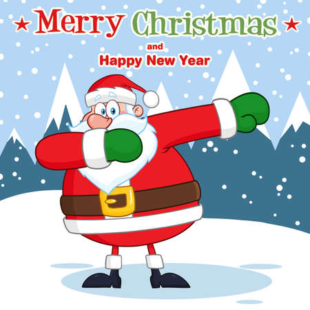 Santa Claus Cartoon Character Dabbing. Vector Illustration With Background And Text